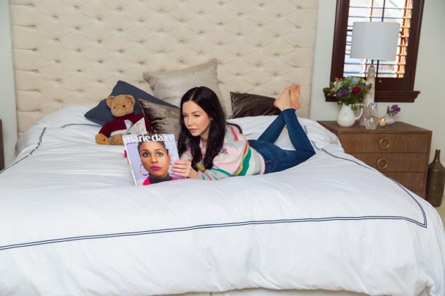 A Royal Night's Sleep with Crown Goose Bedding, Home Interior, Home Decor, Rebecca Taylor Striped Sweater, Mott and Bow Jeans