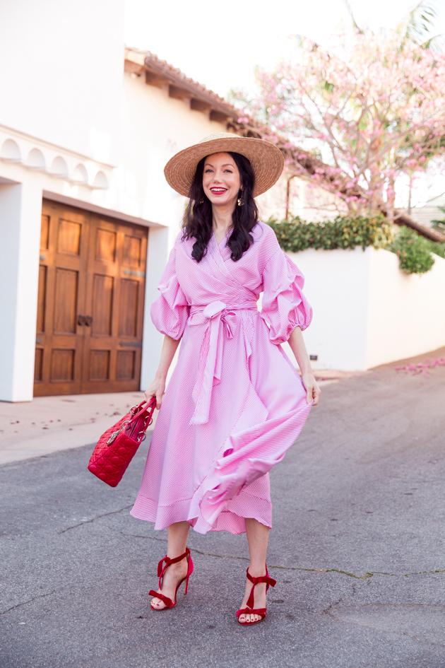 JJ's House Striped Dress, Lack of Color Boater Hat