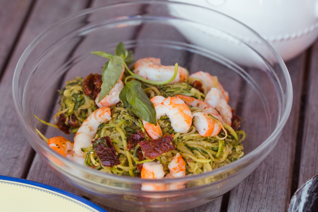 Pesto Zoodles with Sun-dried Tomatoes and Shrimp, Gluten-free Living, Summer Dining Al Fresco,Patio Dining, Manhattan Beach, California Living, Outdoor Entertaining, Pretty Little Shoppers Blog, #alfrescodining #summerentertaining #dinnerparty #winedownweekend