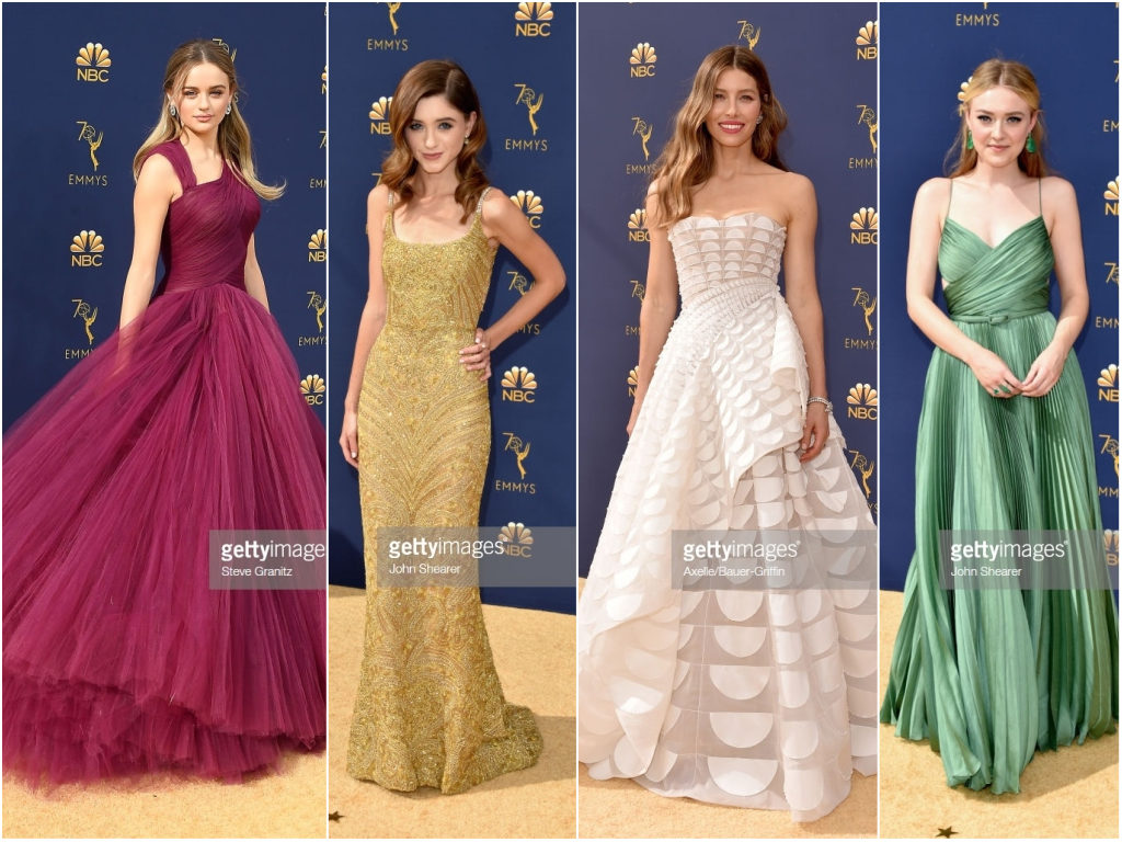 2018 Emmy Awards Red Carpet, Celebrity Style, Emmy Awards, Dakota Fanning, Jessica Biel, Natalia Dyer, Joey King, Red Carpet Style, Zac Posen, Dolce & Gabbana, Dior Haute Couture, Ralph & Russo Couture, Evening Gowns, Pretty Little Shoppers Blog #2018EmmyAwards #RedCarpetStyle #EmmysRedCarpet #celebritystyle #DakotaFanning #JessicaBiel #NataliaDyer #JoeyKing #labloggers #lafashionbloggers #syleinspiration #styleinspo #actressstyle