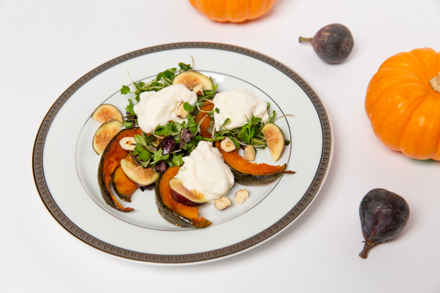 Pumpkin Burrata Salad with Fig Vinaigrette, Fall Dinner Menu, Easy Holiday Salad Recipe, Halloween Entertaining, Halloween Dinner Party Ideas, Lifestyle Blogger, Entertaining Ideas, Entertaining at Home, Dinner Party Inspiration, Lifestyle Blogger, Thanksgiving Ideas, Healthy Eating, Gluten-Free Recipes, Organic Eating, Nutrient Dense Cooking, Farm to Table  #entertainingathome #dinnerparty #holidaysalad #holidayentertaining #fallmenu #pumpkinsalad #burrata #holidaymenu #glutenfreeentertaining