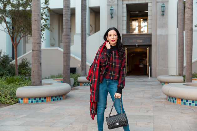 Plaid on Plaid, Scottish Batman, Tartan Style, How to style plaid, Fall Fashion, Winter Styles, Shop till you drop,  Zara Influencer, Mott & Bow, Zara Coat, Tommy Hilfiger Collection, Chanel Bag, Simon Malls,  Fall Trends, Who What Wearing, Fall Style, Mad About Plaid, Tartan Style, Fashion Blogger Style, Outfit Inspiration, Street Style, Street Fashion, OOTD Inspo, Street Style Stalking, Seasonal Style #zarainfluencer #fashionblogger #lafashionblogger #streetstyle #fallfashion