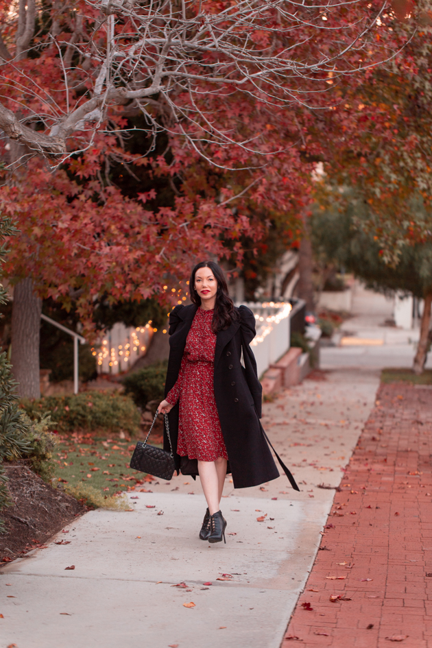 Winter Floral Dress styled by top LA fashion blog, Pretty Little Shoppers: image of a woman wearing an & Other Stories floral dress | & Other Stories, Perfect Winter Dress, And Other Stories, Winter Fashion, How to Style a dress in Winter, Wool Coat, Ankle Booties, Fall Fashion, Winter Styles, Shop till you drop, Fashion Influencer, Chanel Bag, Fall Trends, Who What Wearing, Fall Style, Fashion Blogger Style, Outfit Inspiration, Street Style, Street Fashion, OOTD Inspo, Street Style Stalking, Seasonal Style #andotherstories #fashionblogger #lafashionblogger #streetstyle #fallfashion #winterfashion #reddress #winterdress
