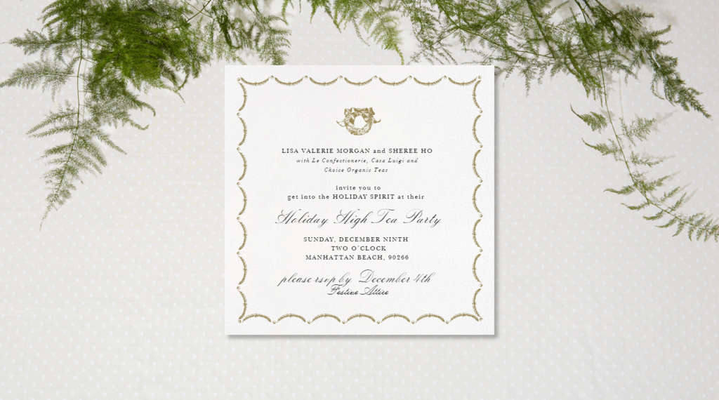 Holiday High Tea Party Invitation with Paperless Post #highteaparty #paperlesspost #partyinvitation