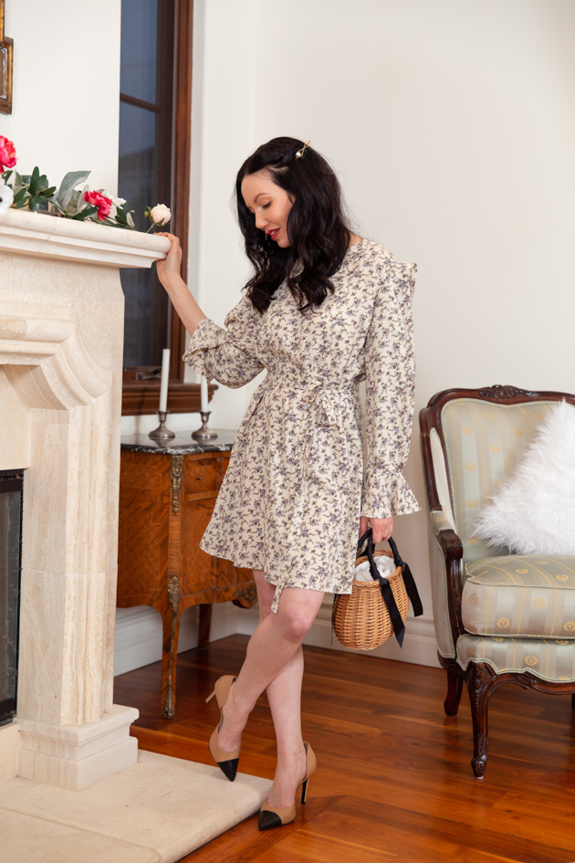 Winter Floral Dress styled by top LA fashion blog, Pretty Little Shoppers: Cap Toe Pumps, Winter Style, Winter Fashion, How to style floral pieces in Winter, Los Angeles Fashion Blogger, Storets, Classic and Feminine Style, Parisian Chic, Parisian Girl Style, Fall Fashion Inspiration, OOTD Inspo, Seasonal Style, Living Room Interior, Home Decor, Pixie Market, White Mini Dress #fashionblogger #lafashionblogger #storetsonme #labloggers #fashioninfluencer #winterflorals #houseofcreed #winterfashion #parisianchic #whitedress