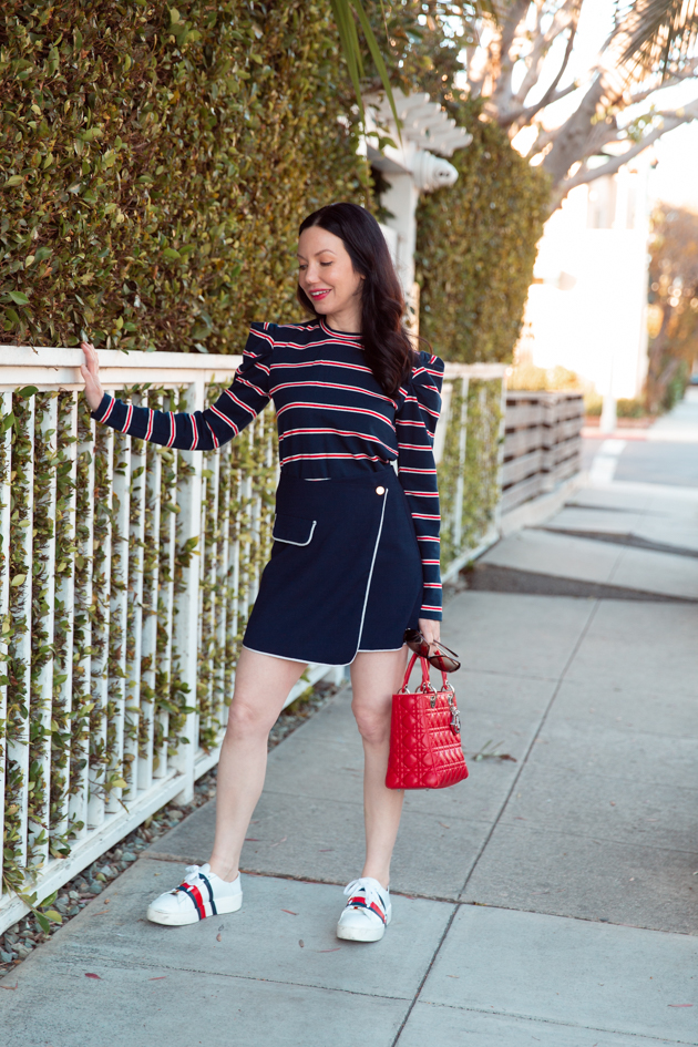 Fourth of July Look, Striped top and sneakers, The Fifth Label, Tommy Hilfiger, Red White and Blue Style, OOTD, Red Bag, Who What Wearing, Summer Style, Fashion Trends, What to wear for Fourth of July, Fashion Blogger Style, OOTD Inspo, street style stalking, outfit ideas, How to Style A Striped Top, Fashion Bloggers, Outfit Inspiration, Trends, Outfits, Pretty Little Shoppers, Mo Summers Photography #stripedtop #fourthofjuly #fashionbloggerstyle #Summerstyle #whowhatwearing #lafashionblogger