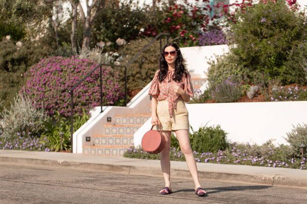 Sister Jane Blouse and Shorts, Birdies Slippers, Gucci Sunglasses, Summer Style, Summer Fashion, Tweed Shorts, What to wear in the Summer, Floral Blouse, Tweed Shorts, Seasonal Style, Tammy and Benjamin, Round Bag, How to dress for Summer What to wear, Ladylike style, Los Angeles Fashion Blogger, Personal Style, Outfit Inspiration, OOTD Inspo, street style stalking, Parisian Girl Style, Parisian Chic #sjsisterhood #dreamsisterjane #summerstyle #tammyandbenjamin #styleblogger #mybirdiesmyway