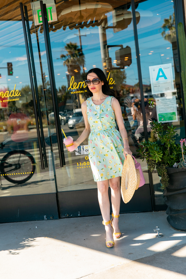 Sarah Patrick Collection, Cotton Summer Dress, Classy Girls Wear Pearls, Kiel James Patrick, Lemonade Print Dress, LPA the Label, Lack of Color Boater Hat, Gucci Sunglasses, Summer Style, Summer Fashion, What to wear in the Summer, Seasonal Style, How to dress for Summer What to wear, Ladylike style, Los Angeles Fashion Blogger, Personal Style, Outfit Inspiration, OOTD Inspo, street style stalking, Preppy Style, Parisian Chic, Classic and Feminine #sarahpatrickcollection #summerstyle #ootd