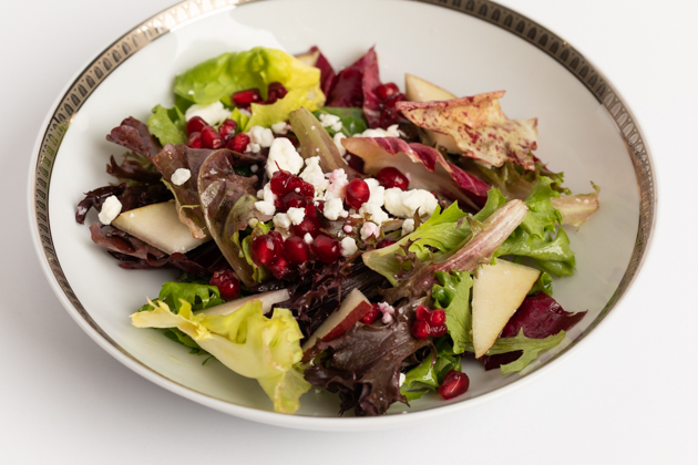 Winter Green Salad with Pomegranate, Pear and Goat Cheese recipe featured by top LA lifestyle blog, Pretty Little Shoppers | Winter Greens with Pomegranate Pear and Goat Cheese, Champagne Vinaigrette, Winter Dinner Menu, Easy Holiday Salad Recipe, Holiday Entertaining, Lifestyle Blogger, Entertaining Ideas, Entertaining at Home, Dinner Party Inspiration, Lifestyle Blogger, Christmas Ideas, Healthy Eating, Gluten-Free Recipes, Organic Eating, Vegetarian Entertaining Recipes, Farm to Table #entertainingathome #dinnerparty #holidaysalad #holidayentertaining #Wintermenu #holidaymenu #glutenfreeentertaining #healthysalad