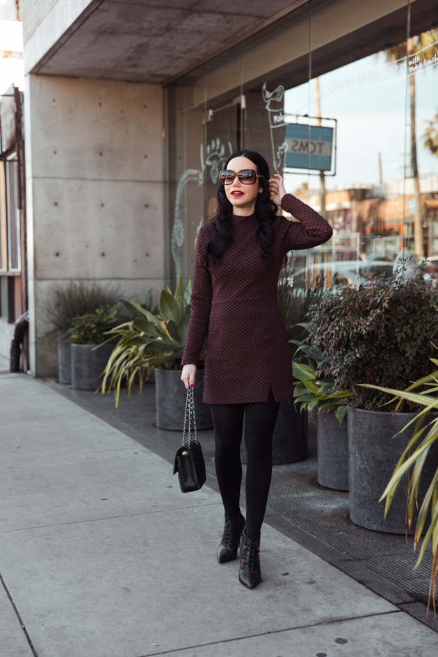 Ellejay Mini Dress, Winter Fashion, How to Style a Mini Dress in Winter, Steve Madden Boots, Chanel Bag, Los Angeles Fashion Blogger, OOTD, Nuuly Rental Service