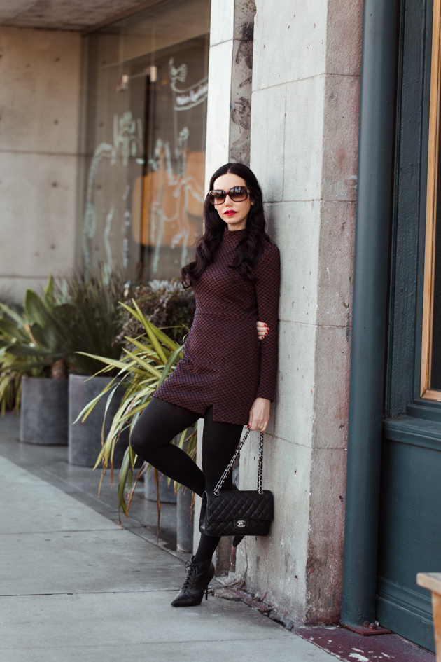 Ellejay Mini Dress, Winter Fashion, How to Style a Mini Dress in Winter, Steve Madden Boots, Channel Bag, Los Angeles Fashion Blogger, OOTD, Nuuly Rental Service