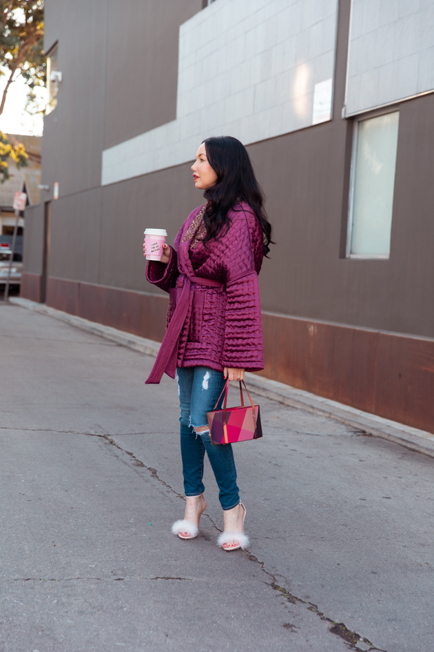 Anthropologie Kimono Jacket, Comfy and Casual Winter Look, Los Angeles Fashion Blogger, What to wear in Winter, Cute Winter Looks, Kimono and Jeans, AG jeans, Pop & Suki, Anthropologie, Fashion Blogger Style, How to Style Denim, Nuuly Rental Service #Anthropologie #PopandSuki
