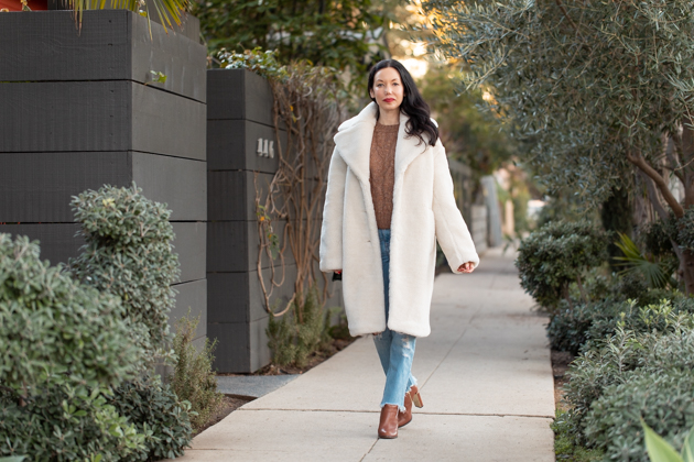 & Other Stories Teddy Bear Coat styled by top LA fashion blog, Pretty Little Shoppers   Teddy Bear Coat, & Other Stories, And Other Stories Shearling Coat, White Teddy Coat, Abercrombie and Fitch, Denim Style, Winter Fashion, Cozy Winter Style, Tammy & Benjamin, Calvin Klein Booties, Nuuly Clothing Rental, Shop till you drop, Fashion Influencer, Winter Trends, Who What Wearing, Fashion Blogger Style, Outfit Inspiration, Street Style, Street Fashion, OOTD Inspo, Street Style Stalking, Seasonal Style #fashionblogger #streetstyle #winterfashion