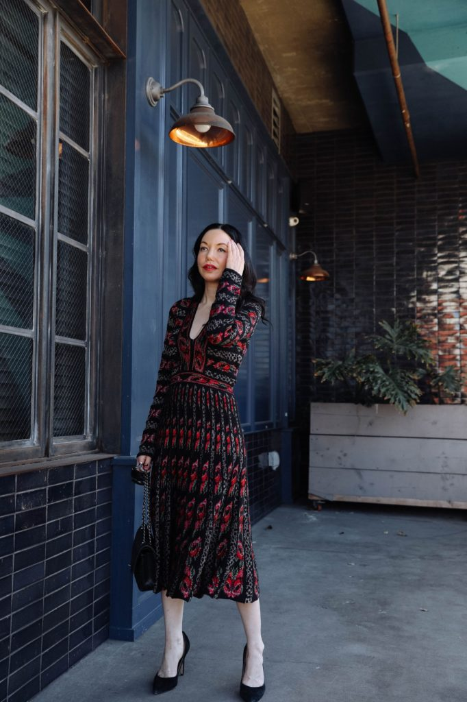 Weathering the Storm, Real Estate, Cecilia Prado, Winter Knit Dress, Winter Fashion Inspo, Los Angeles Fashion Blogger, Nuuly Rental Service, What to Wear in Winter