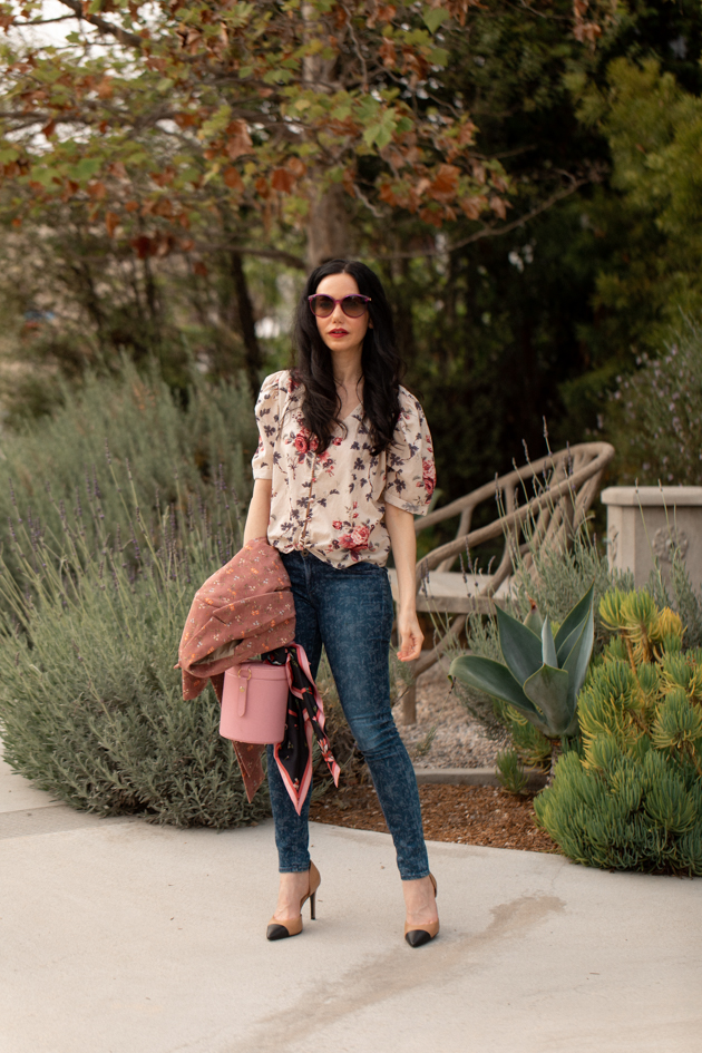 How to Mix Floral Prints, What to wear Fall 2020, Fall Transitional Look, LoveShackFancy Top, Liberty Print Jeans, LPA the Label Bag, Tach Clothing, Los Angeles Fashion Blogger, Pretty Little Shoppers Blog #FloralPrints | Floral Prints by popular L.A. fashion blog, Pretty Little Shoppers: image of woman wearing a floral blouse, Gucci sunglasses, floral print jeans, Pimpinela Corduroy Jacket, and stiletto heels.