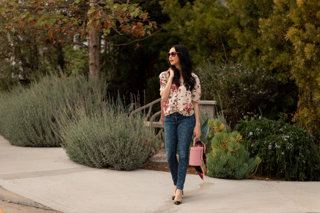 How to Mix Floral Prints, What to wear Fall 2020, Fall Transitional Look, LoveShackFancy Top, Liberty Print Jeans, LPA the Label Bag, Tach Clothing, Los Angeles Fashion Blogger, Pretty Little Shoppers Blog #FloralPrints | Floral Prints by popular L.A. fashion blog, Pretty Little Shoppers: image of woman wearing a floral blouse, floral print jeans, Pimpinela Corduroy Jacket, and stiletto heels.