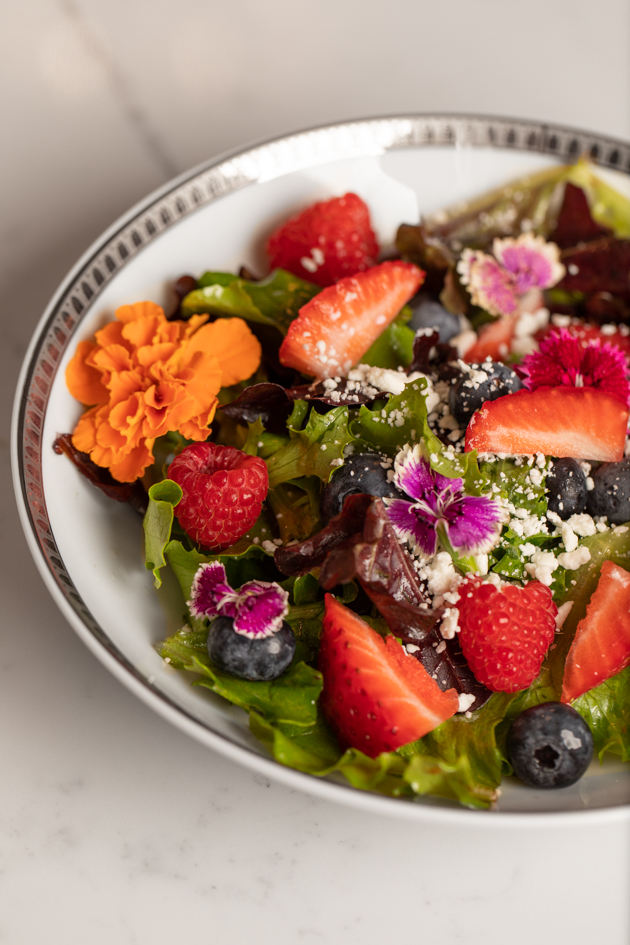 Berry and Goat Cheese Salad with Edible Flowers, Healthy Recipe Ideas, Gluten-Free Salad Recipe, Healthy Eating, Entertaining Recipes, Festive Recipes for Company, Healthy Living Ideas, Pretty Little Shoppers Blog #BerrySalad #edibleflowers #SaladRecipe