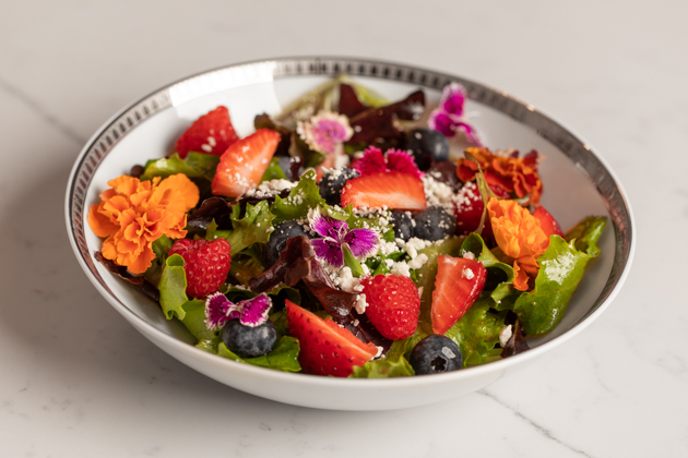 Berry and Goat Cheese Salad with Edible Flowers Recipe featured by top LA healthy lifestyle blogger, Pretty Little Shoppers