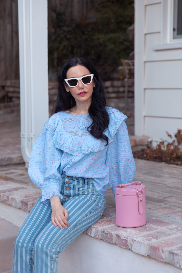 Fall Transitional Look: Pastels, How to wear pastels for Fall, LoveShackFancy, LPA the Label, Italic Cateye sunglasses, Pilcro and the Letterpress, What to wear this Fall, Fall Fashion Trends, Los Angeles Fashion Blogger, Pretty Little Shoppers Blog, Lisa Valerie Morgan  #FallPastels #FallFashion2020 #FallTransitionalLook