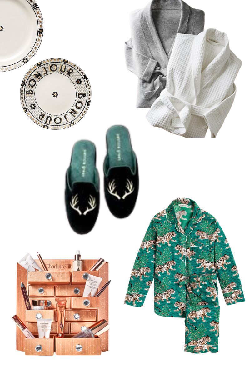Gift Guide for Her, Christmas Gift Ideas, Luxury Gifts, Anthropologie, Charlotte Tilbury Advent Box, Patricia Green Slippers, Pretty Little Shoppers Blog #GiftGuide #GiftGuideforHer |Gift Ideas for Her by popular LA life and style blog, Pretty Little Shoppers: collage image of a Charlotte Tilbury Advent Box, Patricia Green Slippers, bistro plates and grey and white robes.