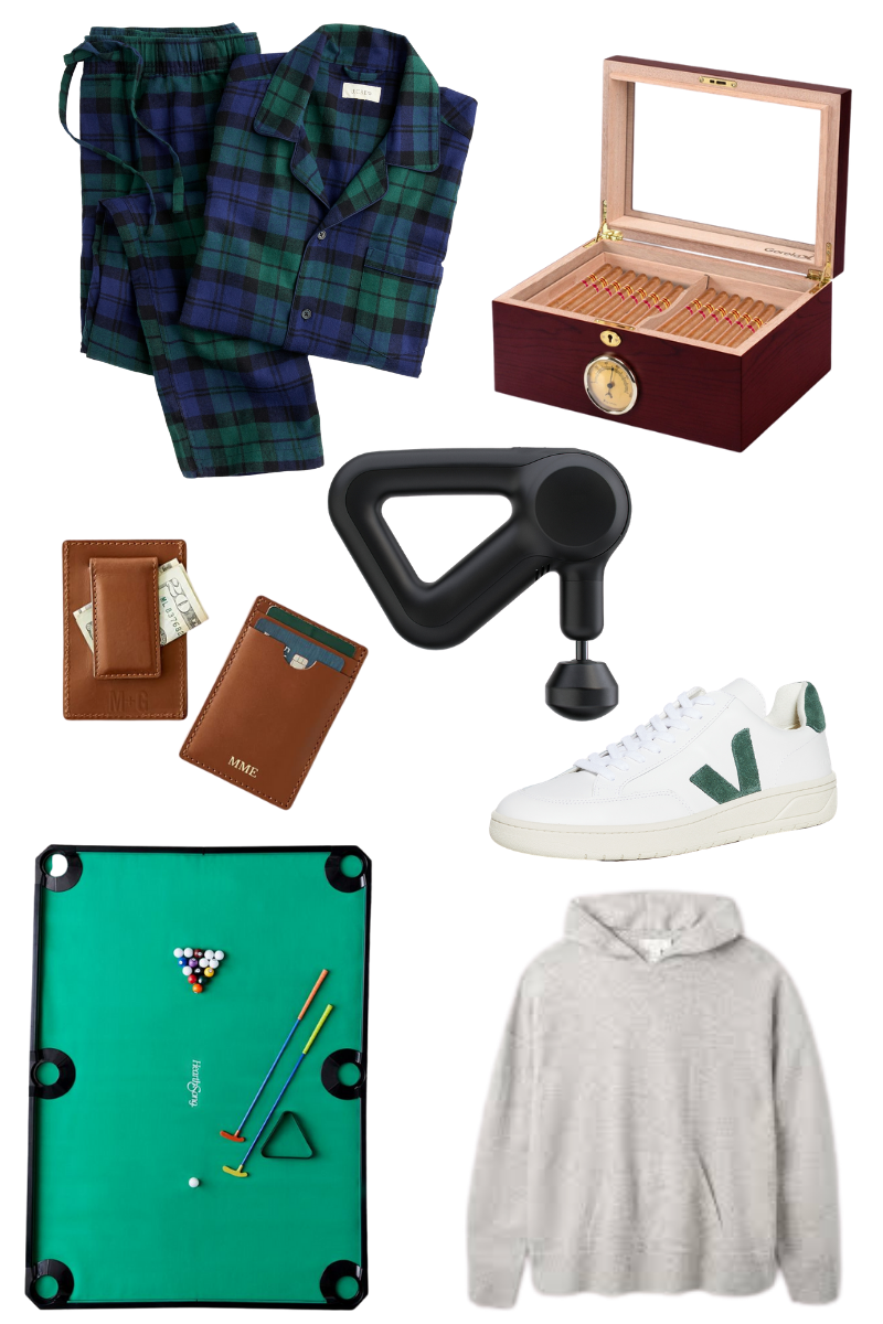 Gift Guide for Him, Christmas Gift Ideas, Luxury Gifts, J.Crew Pajama Set, Theragun Prime, Mini Golf Pool Set, Mini Cigar Humidor, Mark & Graham Leather Card Holder, Cashmere Hoodie, Pretty Little Shoppers Blog #GiftGuide #GiftGuideforHim |Gifts for Him by popular LA life and style blog, Pretty Little Shoppers: collage image of a pair of plaid flannel pajamas, leather wallet, veja sneakers, grey hoodie sweatshirt, cigars, Theragun therapy massager, and indoor mini golf set.