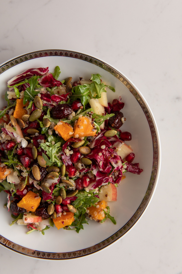 Fall Harvest Salad, Fall Salad with Butternut Squash and Quinoa, Fall Picnic Menu, Pretty Little Shoppers Blog, Los Angeles Lifestyle Blogger, How to Celebrate Thanksgiving During Quarantine #FallHarvestSalad #ThanksgivingSalad #ThanksgivingIdeas | Fall Harvest Salad by popular LA lifestyle blog, Pretty Little Shoppers: image of a fall harvest salad in a white and gold ceramic bowl.