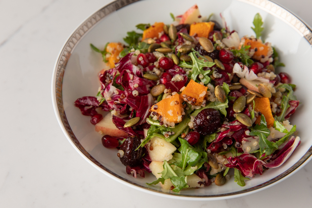 Fall Harvest Salad with Apple Cider Vinaigrette, Thanksgiving Recipe Ideas, Fall Salad with Butternut Squash and Quinoa, Fall Picnic Menu, Pretty Little Shoppers Blog, Los Angeles Lifestyle Blogger, How to Celebrate Thanksgiving During Quarantine #FallHarvestSalad #ThanksgivingSalad #ThanksgivingIdeas |Fall Harvest Salad by popular LA lifestyle blog, Pretty Little Shoppers: image of a fall harvest salad in a white and gold ceramic bowl.