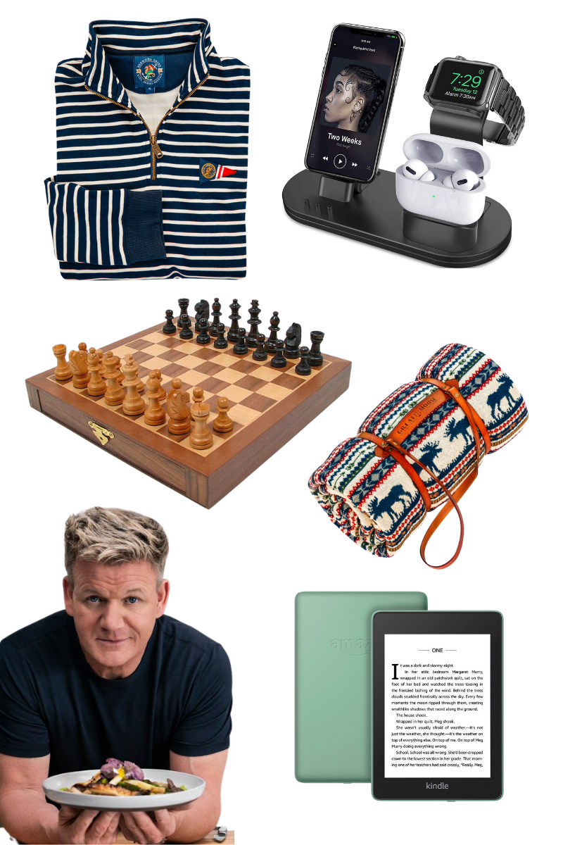 Gift Guide for Him, Christmas Gift Ideas, Luxury Gifts, Gordon Ramsey Master Class, Chess Set, Kiel James Patrick, Amazon Kindle, Phone Charging Station, Pretty Little Shoppers Blog #GiftGuide #GiftGuideforHim | Gifts for Him by popular LA life and style blog, Pretty Little Shoppers: collage image of a pullover sweatshirt, charging station, Master Class subscription, Amazon Kindle, chess set, and stadium blanket.