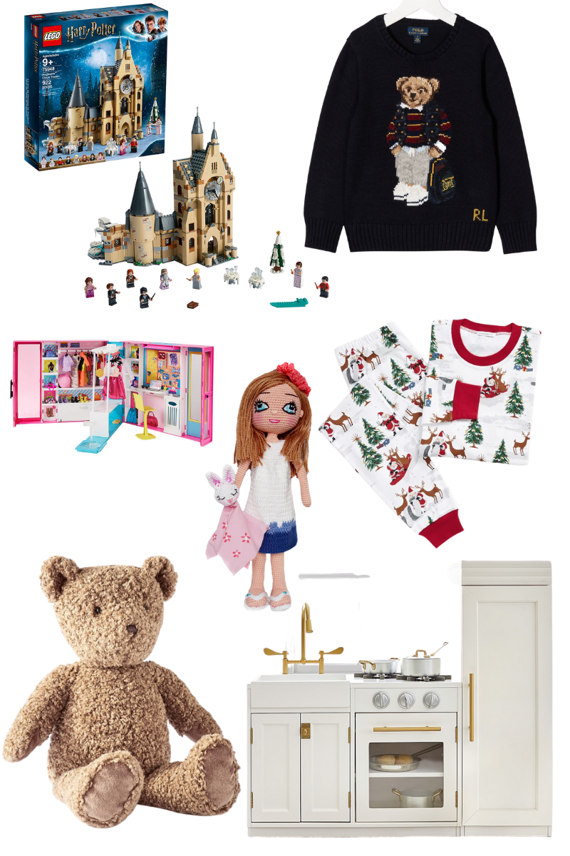 Gift Guide for Babies and Kids, The Best Holiday Gifting Ideas, Pottery Barn Kids, Ralph Lauren Kids, Barbie Dream Closet, Harry Potter Hogwarts Lego Set, Christmas Gift Ideas for Kids, Pretty Little Shoppers Blog, Los Angeles Lifestyle Blogger |Baby Gift Ideas by popular LA life and style blog, Pretty Little Shoppers: collage image of a Harry Potter Hogwarts Lego Set, Ralph Lauren Teddy Bear Jumper, Santa Pajama Set, Chelsea All-In-One Play Kitchen, Teddy Bear, Barbie Dream Closet, and Personalized Look-A-Like Doll
