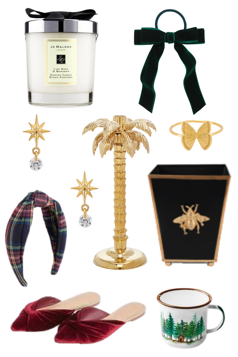 Christmas in Quarantine, Jo Malone, J.Crew, Kiel James Patrick, Belle and June, Revolve Clothing, Luxury Gift Ideas, Stocking Stuffers and Gifts under $100, Hollywood Regency Gifts, Pretty Little Shoppers Blog, Los Angeles Lifestyle Blog #StockingStuffers #GiftIdeas #luxurygifts |Stocking Stuffer Ideas by popular LA life and style blog, Pretty Little Shoppers: collage image of a Jo Malone candle, velvet ribbon elastic, plaid knot headband, butterfly bracelet, Christmas mug, black and gold bee wastebasket, gold and crystal drop earrings, velvet point toe flats, and a gold palm tree jewelry holder.