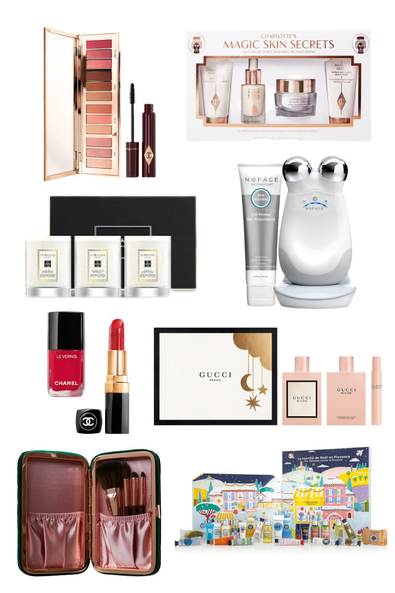 Last Minute Beauty Gift Guide, Charlotte Tilbury, NuFace, Jo Malone, Gucci, Chanel, L' Occitane, Christmas in Quarantine, Luxury Gift Ideas, Pretty Little Shoppers Blog, Los Angeles Lifestyle Blog, #BeautyGifts #GiftIdeas #luxurygifts | Best Beauty Gifts by popular LA beauty blog, Pretty Little Shoppers: collage image of Charlotte Tilbury Pillow Talk Dreamy Eye Kit, Charlotte Tilbury Magic Skin Secrets, NuFace Advanced Facial Toning Kit, Gucci Bloom 3 Piece Set, L'Occitane Signature Advent Calendar, Charlotte Tilbury Mini Brush Set, Chanel nail polish, Chanel lipstick, and Jo Malone travel candle set.