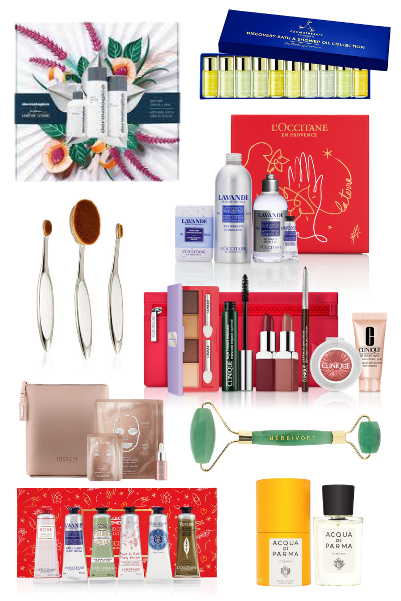 Last Minute Beauty Gift Guide, Dermalogica, Artis Makeup Brush, Set, Acqua di Parma Cologne, Aromatherapy Associates, Herbivore Jade Roller, 111Skin, Clinique, L' Occitane, Christmas in Quarantine, Luxury Gift Ideas, Pretty Little Shoppers Blog, Los Angeles Lifestyle Blog, #BeautyGifts #GiftIdeas #luxurygifts | Best Beauty Gifts by popular LA beauty blog, Pretty Little Shoppers: collage image of Dermalogica, Artis Makeup Brush, Set, Acqua di Parma Cologne, Aromatherapy Associates, Herbivore Jade Roller, 111Skin, Clinique, L' Occitane
