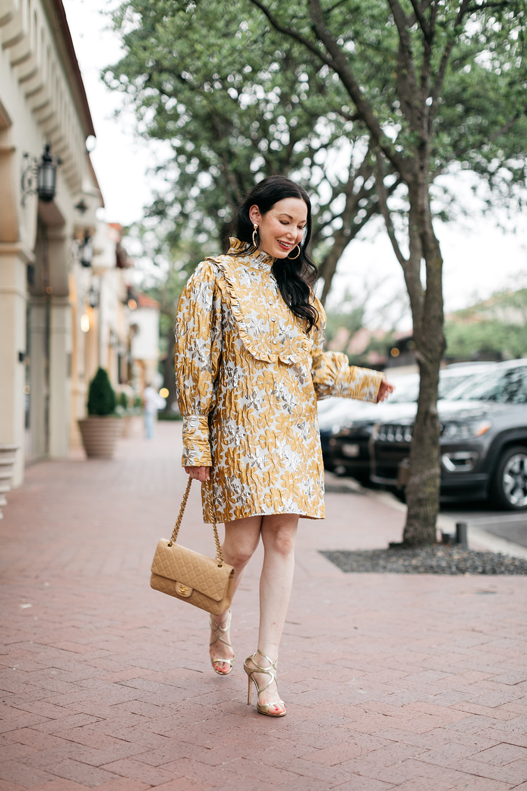 Sister Jane Cocktail Dress, Chanel bag, Jimmy Choo sandals, Ettika earrings, Highland Park Village Dallas   Cocktail Dress by popular Dallas fashion blog, Pretty Little Shoppers: image of a woman walking outside on a brick paved sidewalk and wearing a Sister Jane Cocktail Dress, Chanel Bag, Jimmy Choo Sandals, and Ettika earrings.