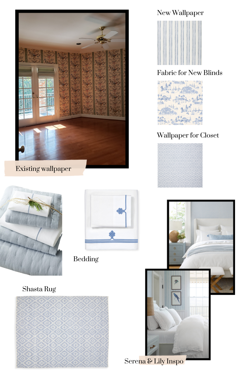 Guest Bedroom Makeover, Serena & Lily | Guest Bedroom Ideas by popular Dallas life and style blog, Pretty Little Shoppers: collage image of a Serena and Lily One Kings Lane Shasta rug, blue and white bedding, white headboard, and blue and white wallpaper.