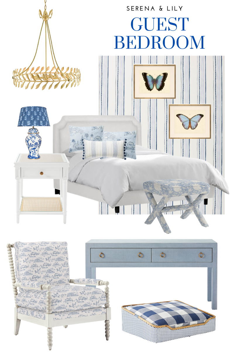 Serena & Lily, Guest Bedroom Makeover Mood Board, One Kings Lane | Guest Bedroom Ideas by popular Dallas life and style blog, Pretty Little Shoppers: collage image of a Serena and Lily One Kings Lane blue entry table, blue and white accent chair, ginger jar lamp, blue and white stripe wallpaper, blue butterfly prints, gold leaf chandelier, white end table, white headboard, blue and white throw pillows, white bedding and blue and white Buffalo plaid dog bed.