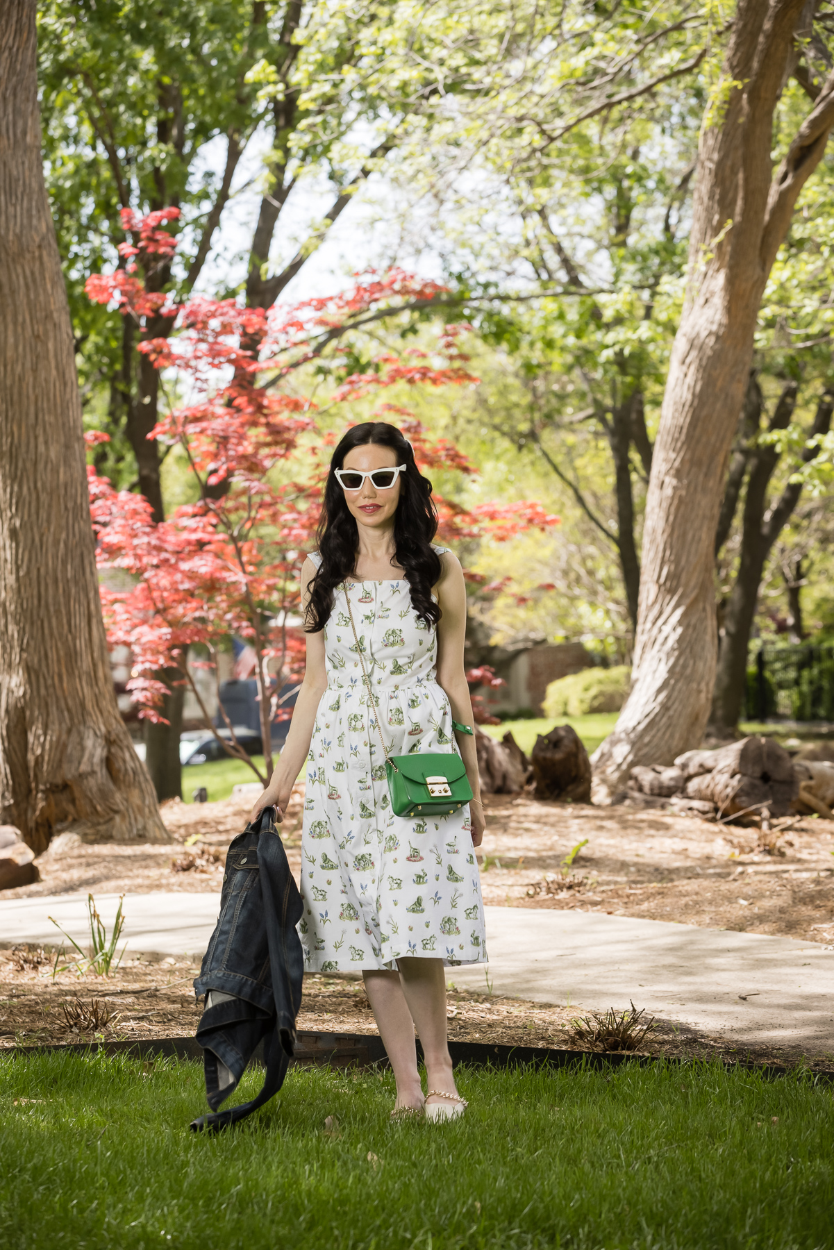 Sarah Patrick Collection Newport Topiary Gardens Dress, Furla Crossbody Bag, Italic Cat eye Sunglasses