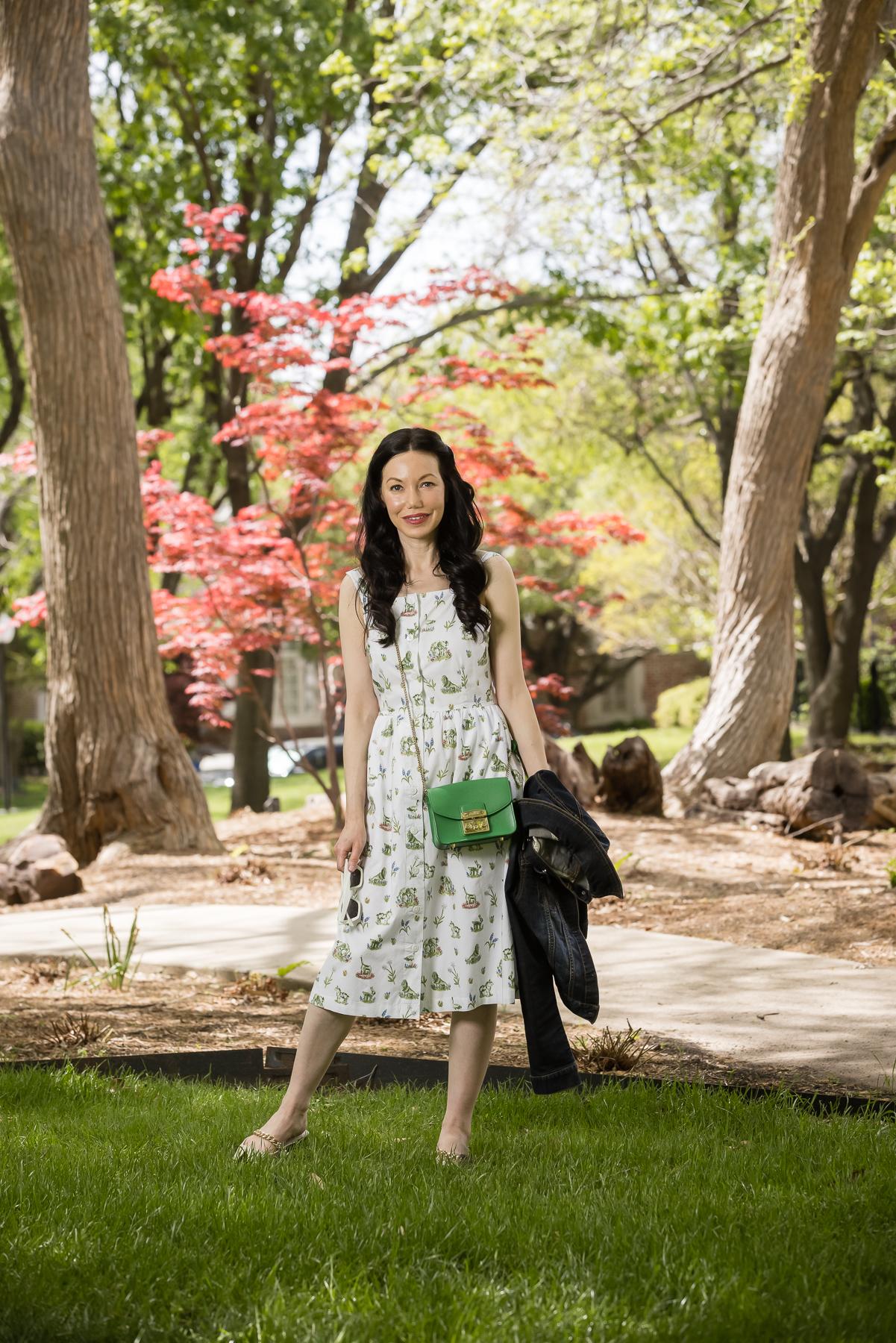 Sarah Patrick Collection Newport Topiary Gardens Dress styled with Green mini Furla crossbody bag