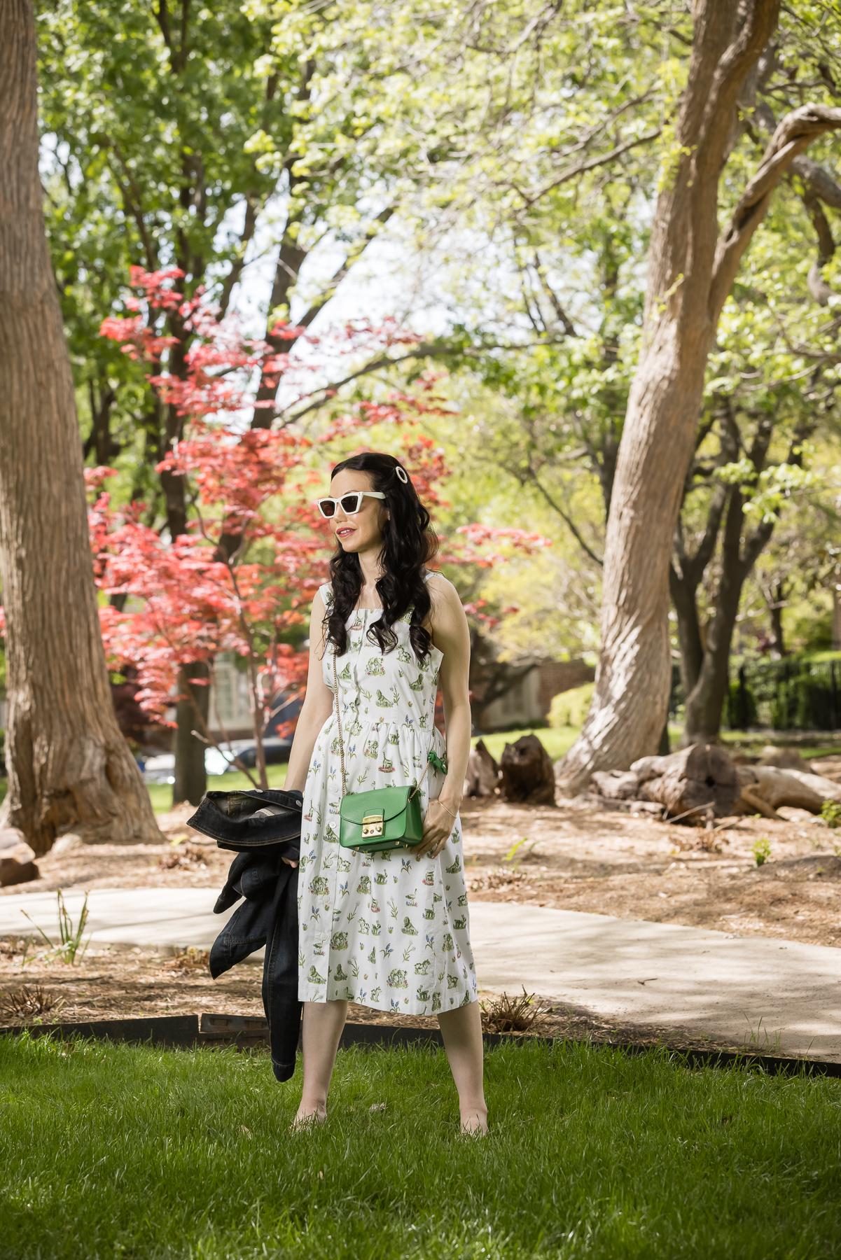 Sarah Patrick Collection Newport Topiary Gardens Dress, Italic Cateye Sunglasses, Green Mini Furla Crossbody Bag