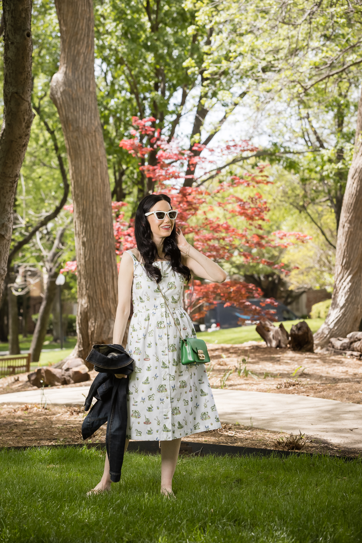 Sarah Patrick Collection Newport Topiary Gardens Dress, Green Furla Crossbody Bag