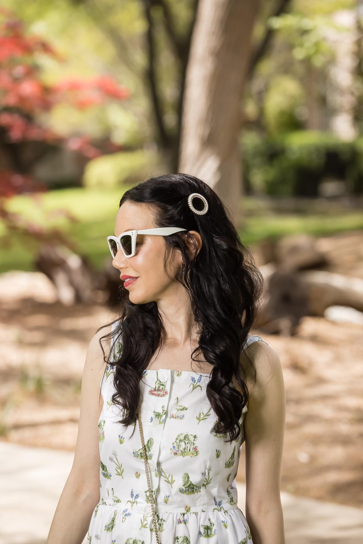 Ettika Pearl Crystal Round Ring Hair Barrette