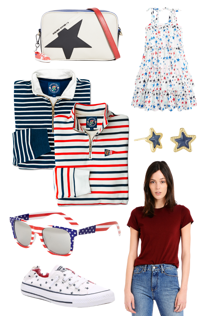 4th of July Style Fashion Ideas, Mott and Bow, Kiel James Patrick, Converse, J.Crew, Kendra Scott   4th of July Fashion by popular Houston fashion blog, Pretty Little Shoppers: collage image of a blue star spring camera bag purse, red, white and blue star print tie strap dress, blue and white stripe half zip pullover, red, white and blue half zip pullover, blue star Kendra Scott earrings, Stars and Stripes sunglasses, maroon t-snirt, and blue and white star print Converse sneakers.