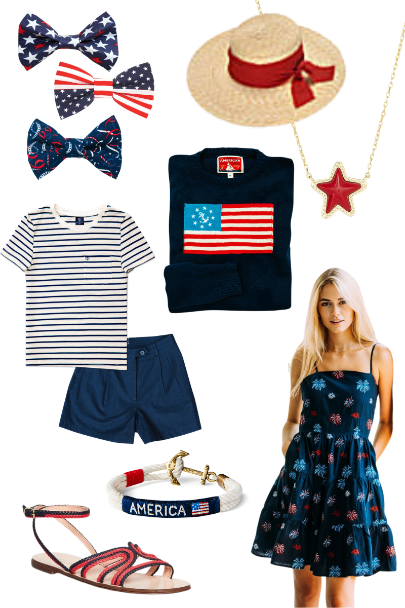 Kiel James Patrick, Brooks Brothers, Etsy Dog Bow Ties, Kendra Scott Star Necklace, 4th of July Style   4th of July Fashion by popular Houston fashion blog, Pretty Little Shoppers: collage image of Stars and Stripes print bows, blue and white stripe shirt, blue shorts, American flag t-shirt, red star Kendra Scott necklace, straw boater hat, American bracelet, fireworks print dress, and red and blue strap sandals.