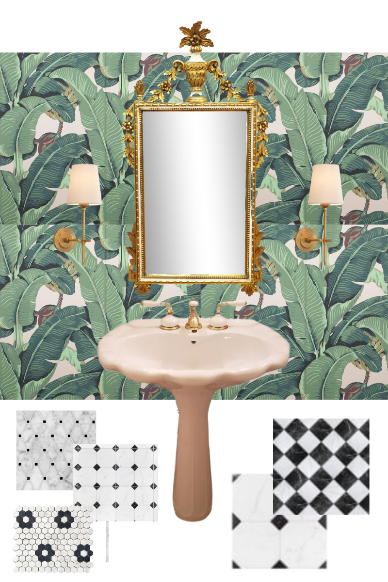 Martinique Wallpaper, Banana Leaf Wallpaper, Dorothy Draper, Beverly Hills Hotel, Black and White floor tiles, Hollywood Regency Powder Room Mood Board, Antique Vanity Mirror   Hollywood Regency Style by popular Dallas life and style blog, Pretty Little Shoppers: collage image of Martinique Wallpaper, Banana Leaf Wallpaper, gold filigree mirror, scallop edge sink, and black and white floor tiles