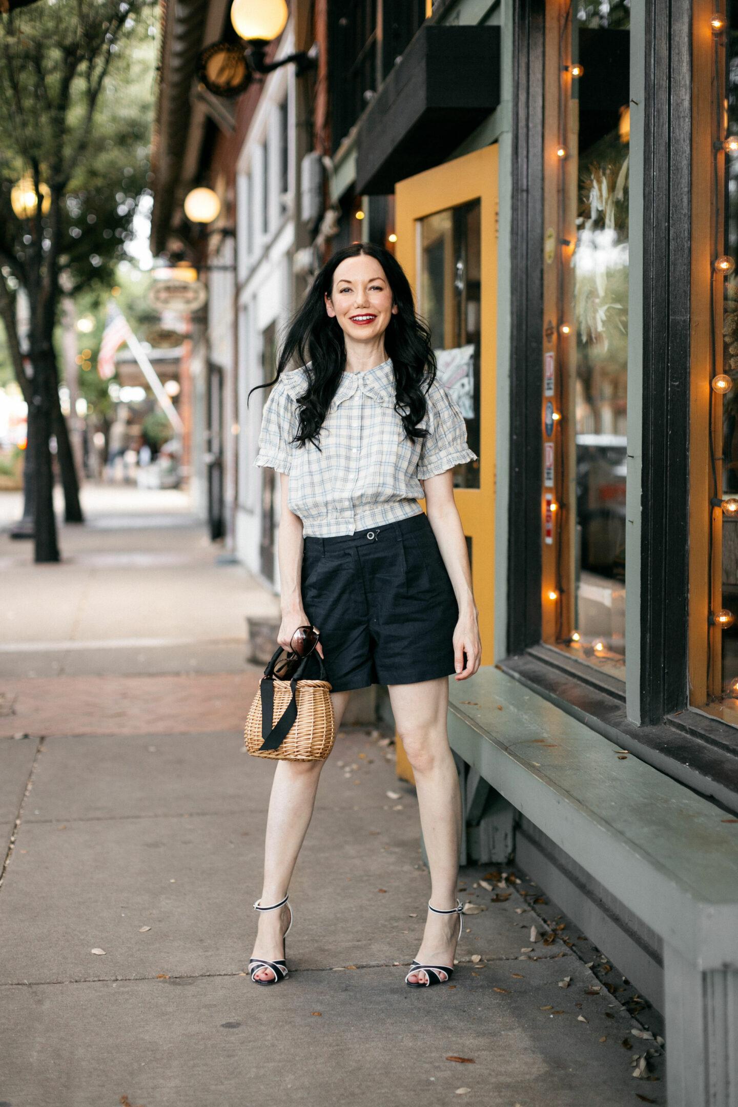 Fall Transitional Look: Doen Shirt and Linen Shorts