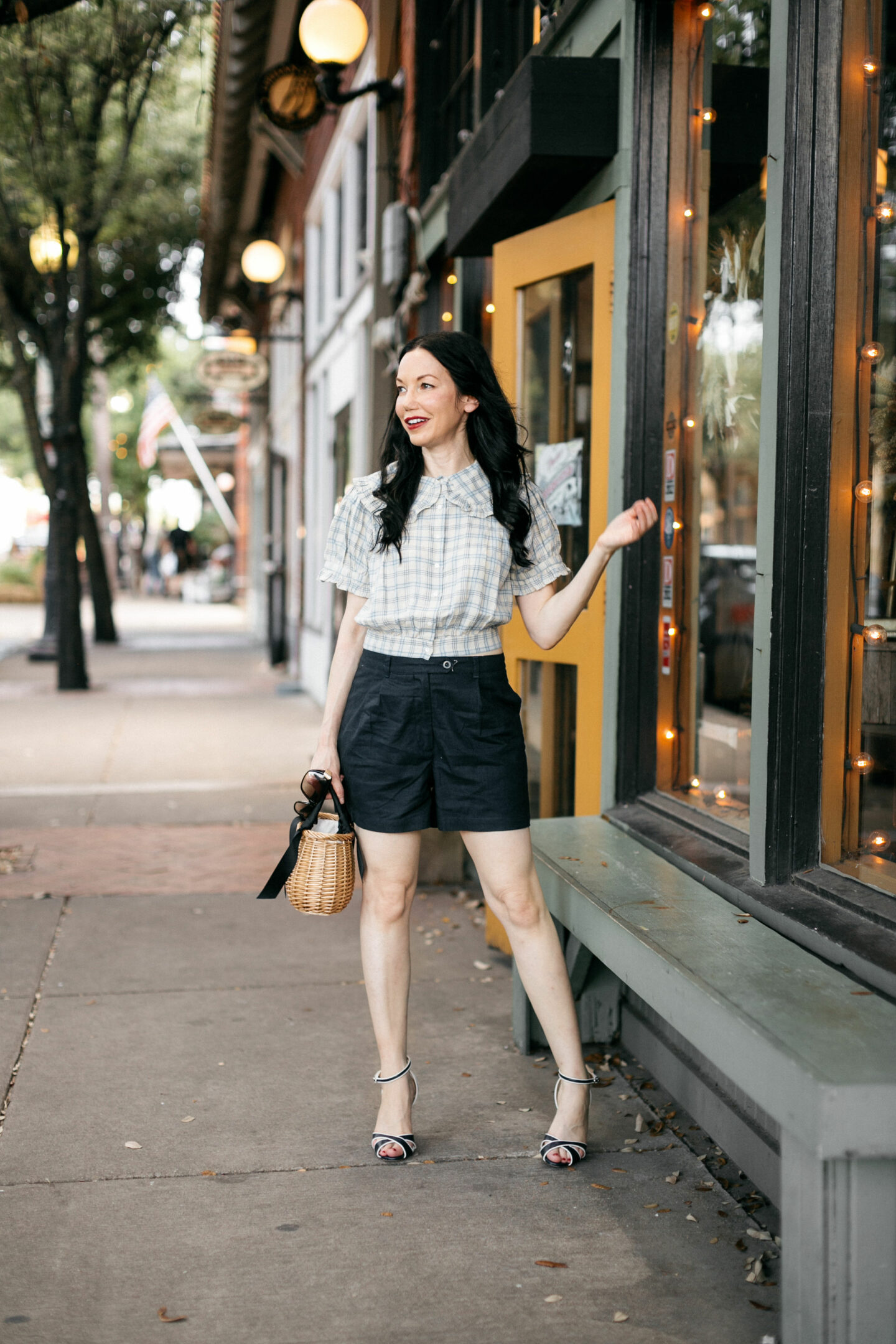 Doen Shirt and Linen Shorts, a fall transitional look styled by top Dallas fashion blogger, Pretty Little Shoppers.